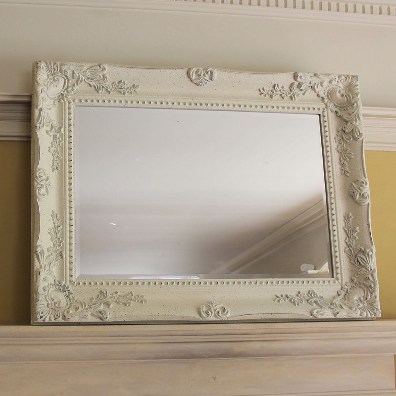 Extra large ornate cream distressed wall mirror melody for Extra large mirrors