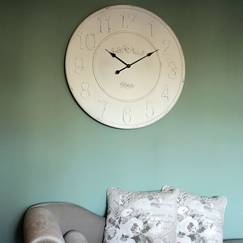extra large wooden ivory wall clock living room french country rustic