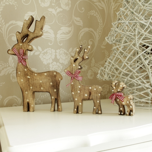 Family of 3 Wooden Christmas Reindeer
