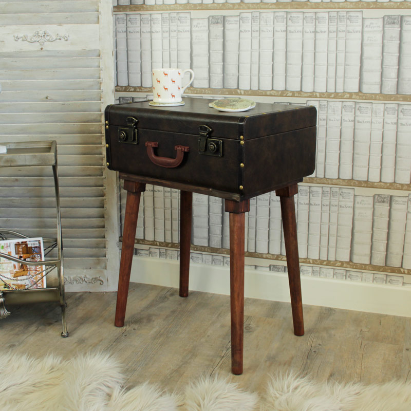 Faux Leather Suitcase Storage Table