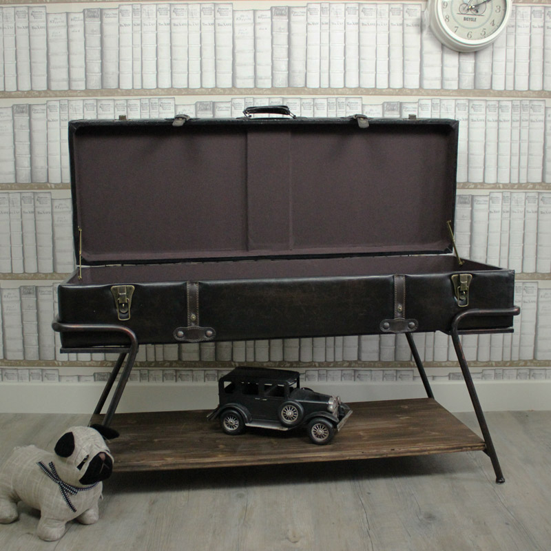 Faux Leather Trunk On A Stand / Coffee Table
