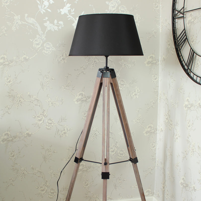 Floor Standing Lamp - Wooden Tripod Lamp with Shade