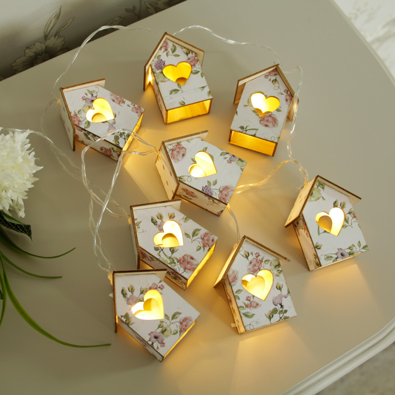 Floral House Fairy Lights Garland