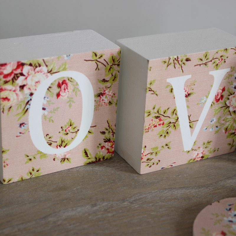 Floral Wooden Love Blocks