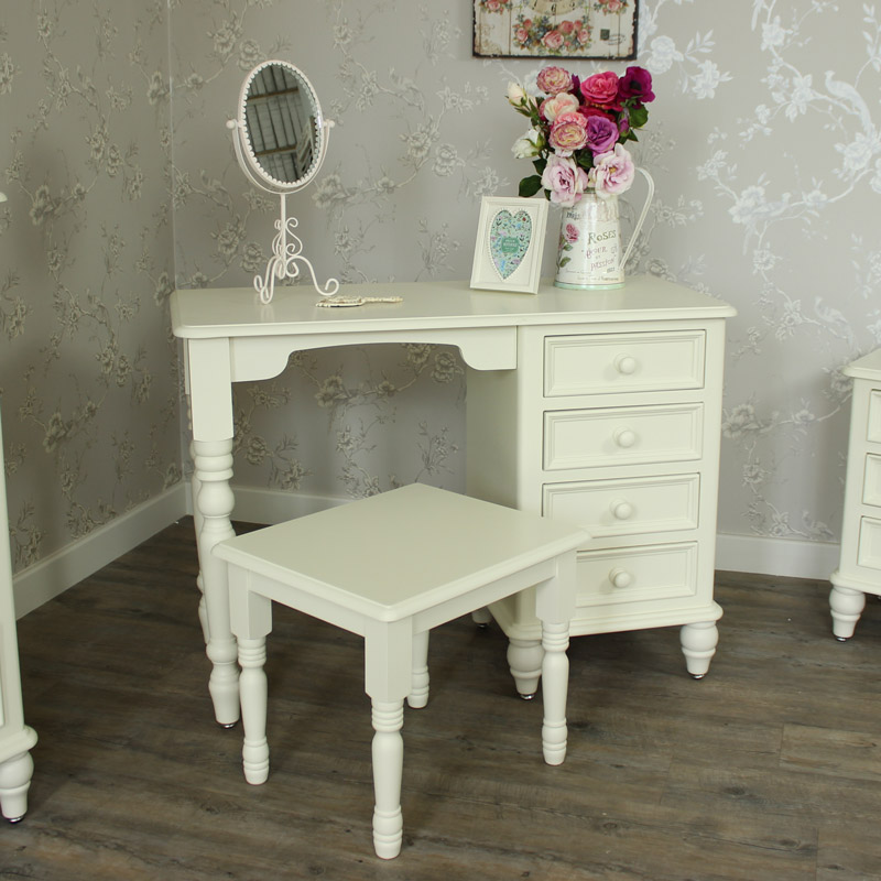 Florence range cream dressing table and stool set for Range dressing table