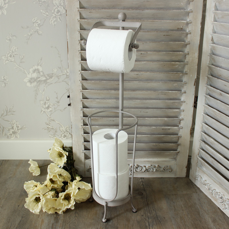 Freestanding Grey Toilet Roll Holder
