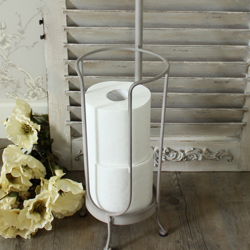 freestanding grey toilet roll holder bathroom shabby vintage chic wc storage. Black Bedroom Furniture Sets. Home Design Ideas