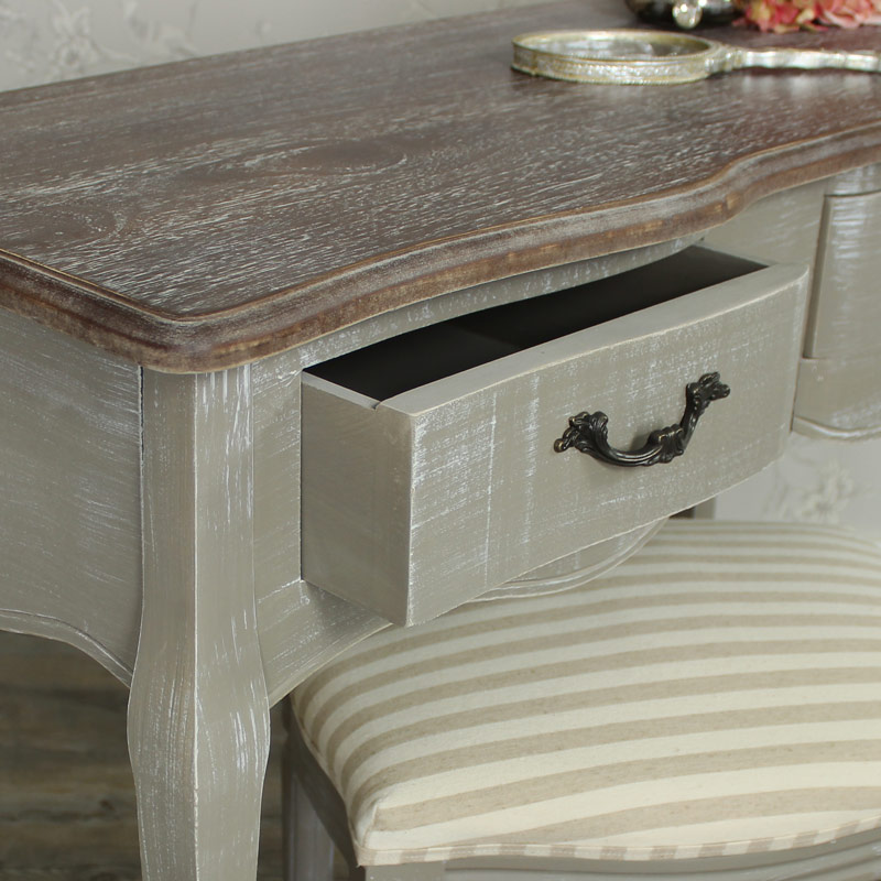 French grey dressing table and fabric stool distressed