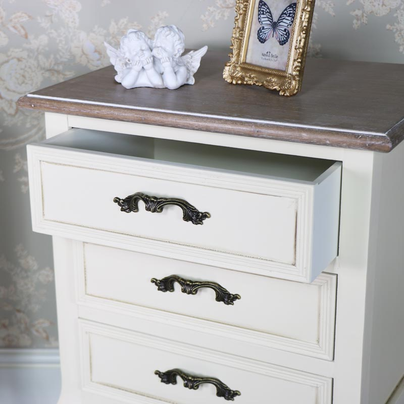 Georgette Range - Cream 3 Drawer Bedside Chest