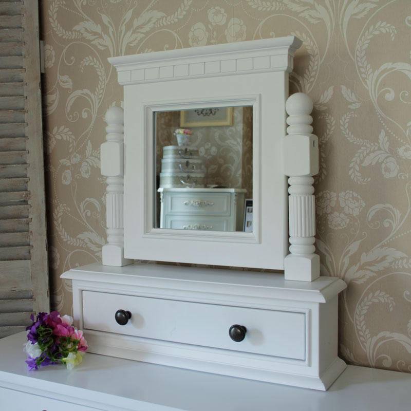 Georgiano Range - White Dressing Table Swing Mirror with Drawer