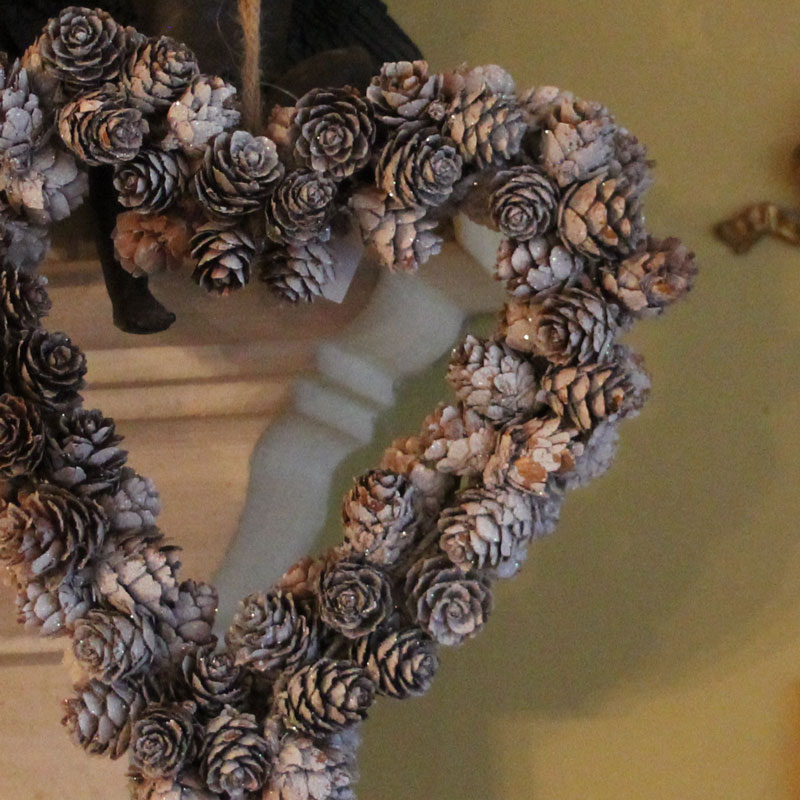 Glitter Pine Cone Heart Wreath