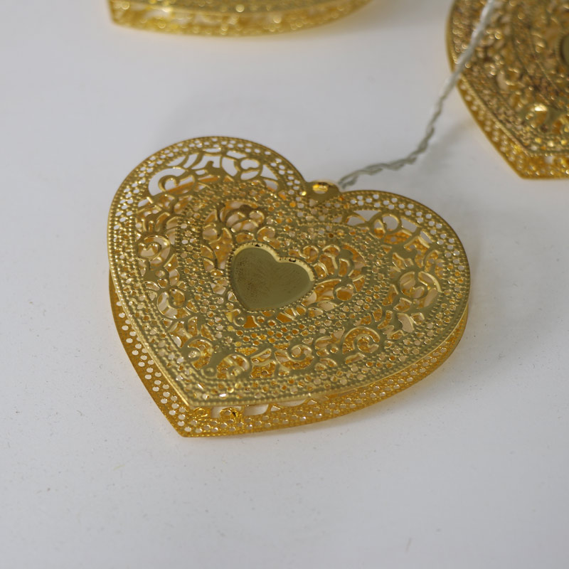 Gold Filigree Heart Garland Fairy Lights - Melody Maison
