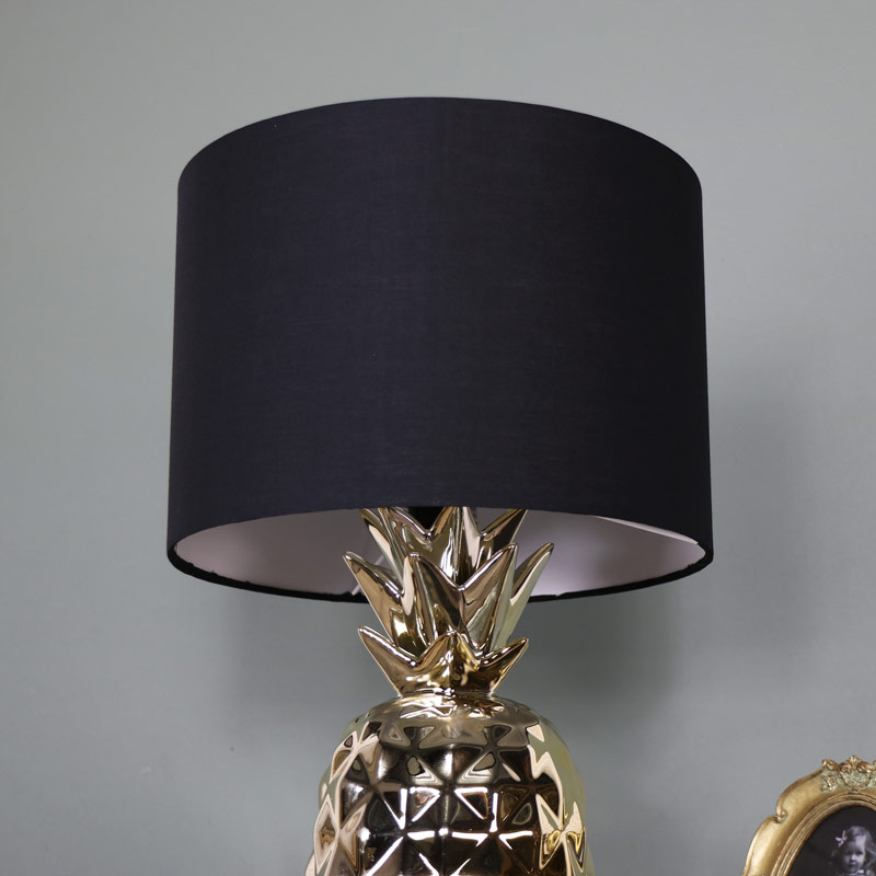 Gold pineapple table lamp with black cotton shade melody maison gold pineapple table lamp with black cotton shade aloadofball Images