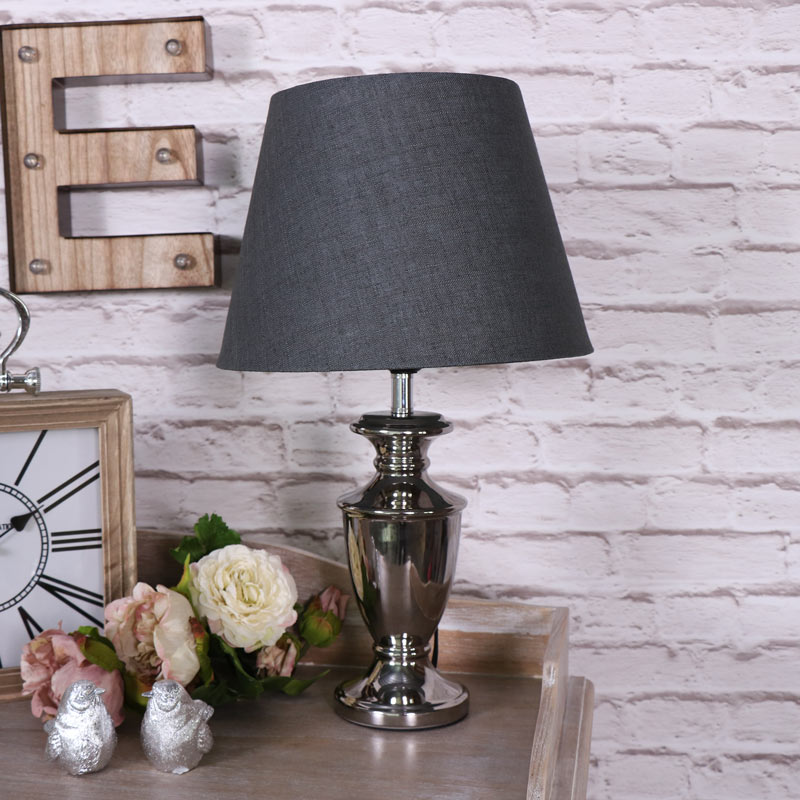 Grey and Chrome Table Top Lamp   Melody Maison®