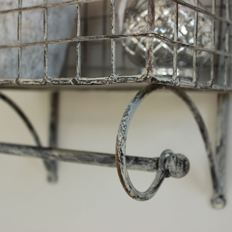 Grey Metal Wired Shelf with Towel Rail