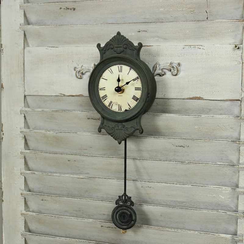 Grey metal small wall clock pendulum shabby french chic for Living room wall clocks