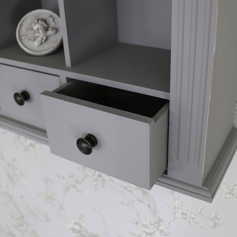 Grey Roman Wall Cabinet with Drawers