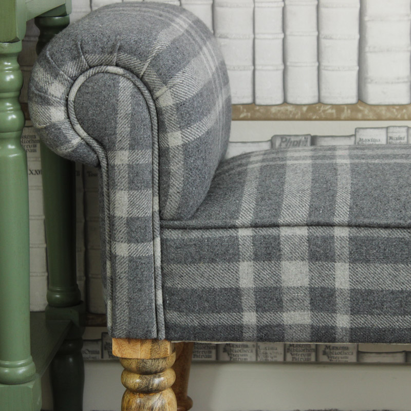 Grey Tartan Upholstered Bench / Chaise