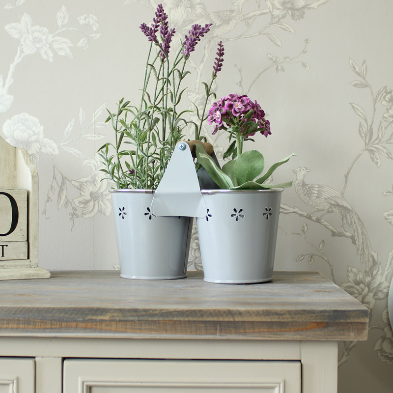 Grey Vintage Metal Twin Planter