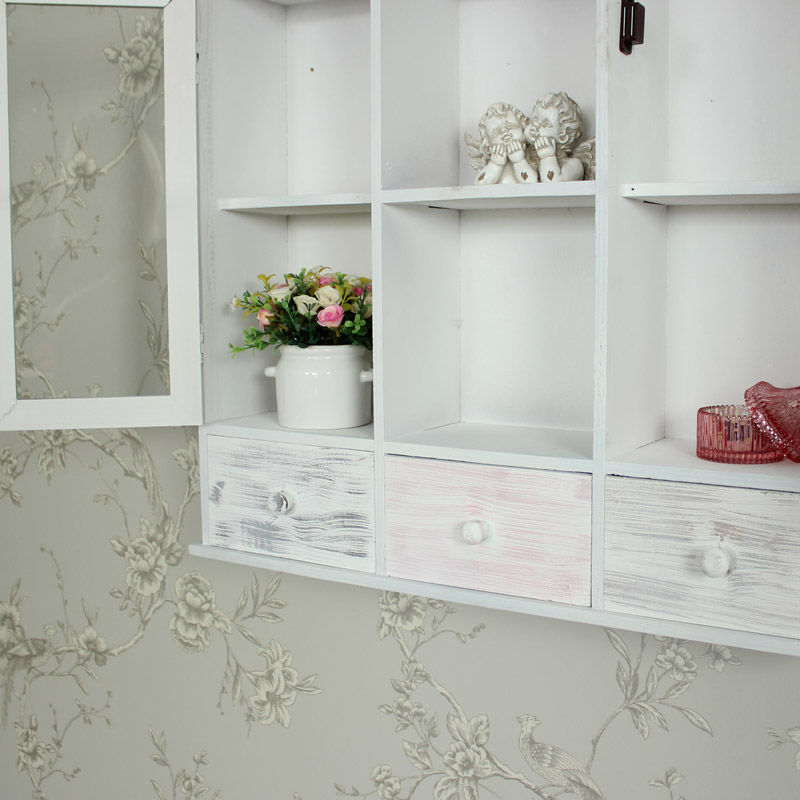 Wall Mounted Grey Wooden Storage Shelving Cabinet Shabby Vintage Chic Bathroom