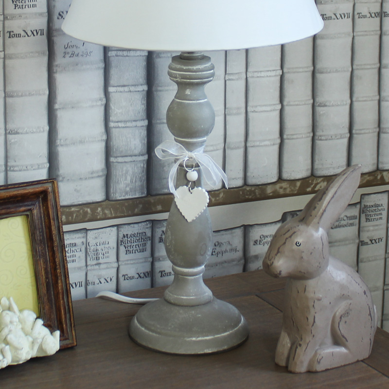 wooden white washed table lamp linen shade shabby cottage chic home gift light ebay. Black Bedroom Furniture Sets. Home Design Ideas