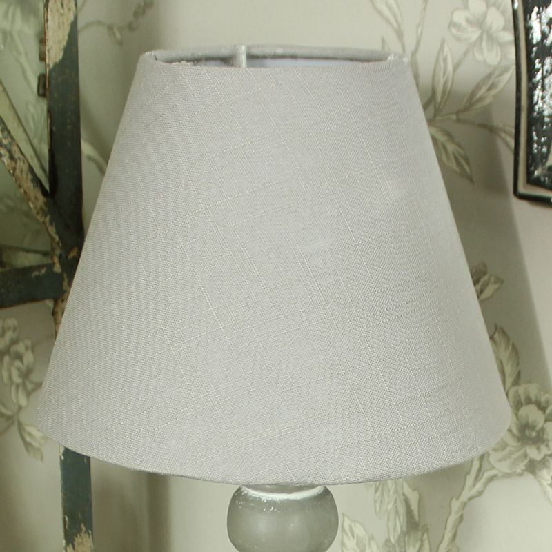 Grey Wooden Table Bedside Lamp With Beige Linen Shade