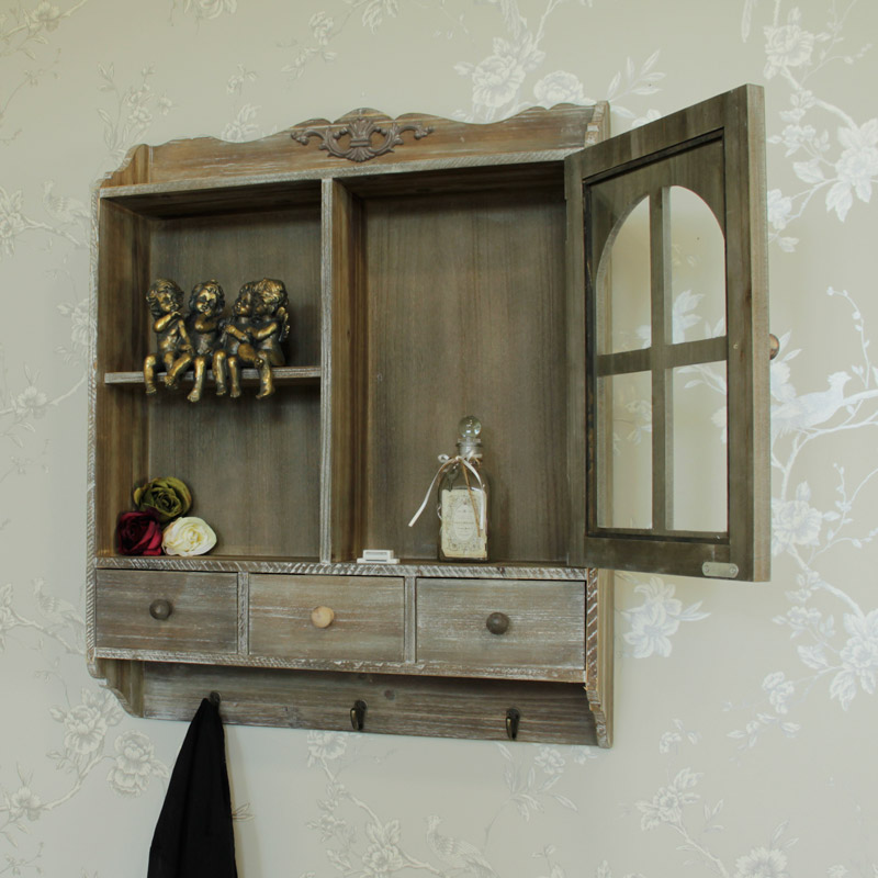 Heavily Distressed Wooden Wall Cabinet with Hooks