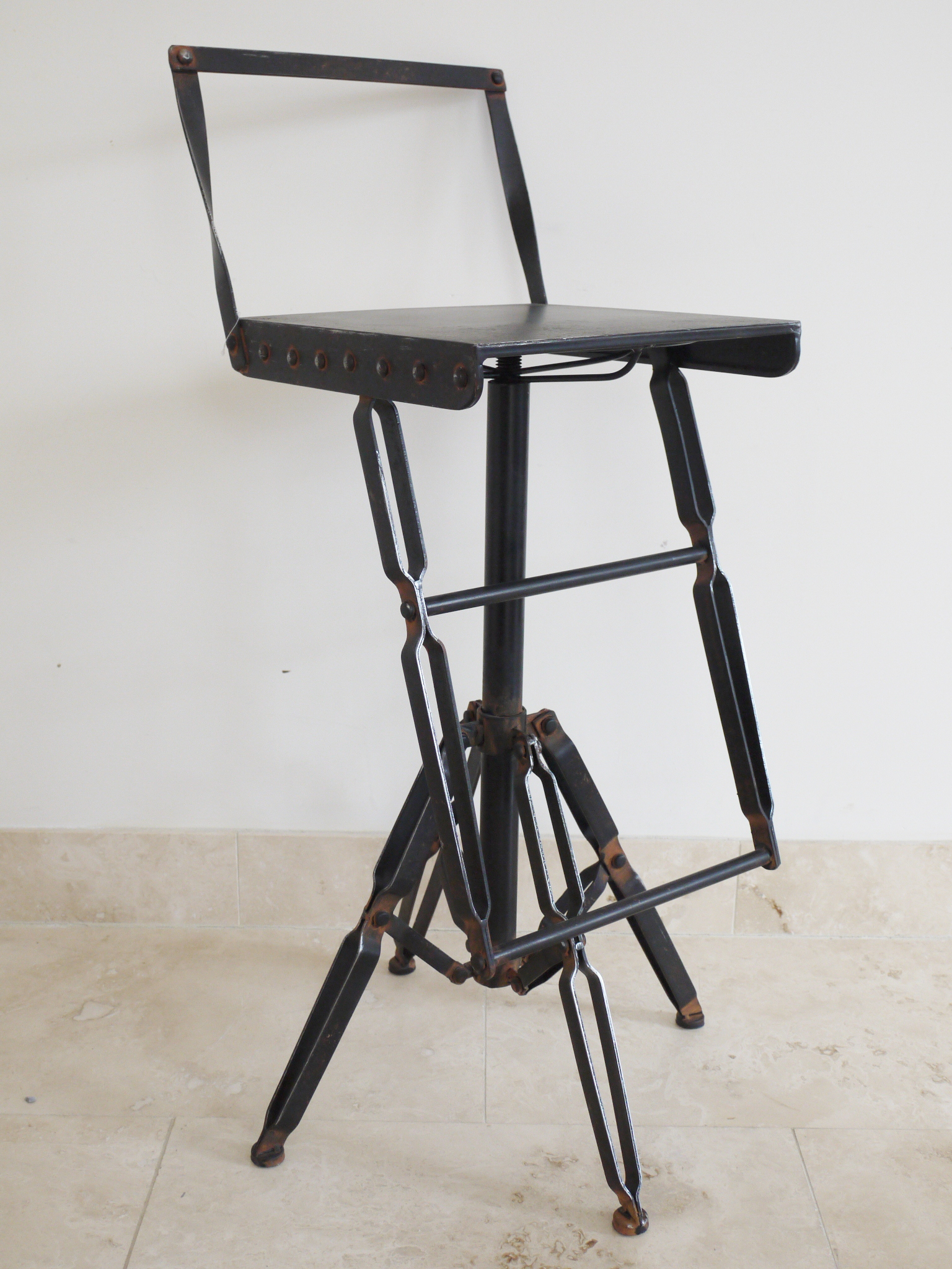 Industrial Style Black Bar Chair