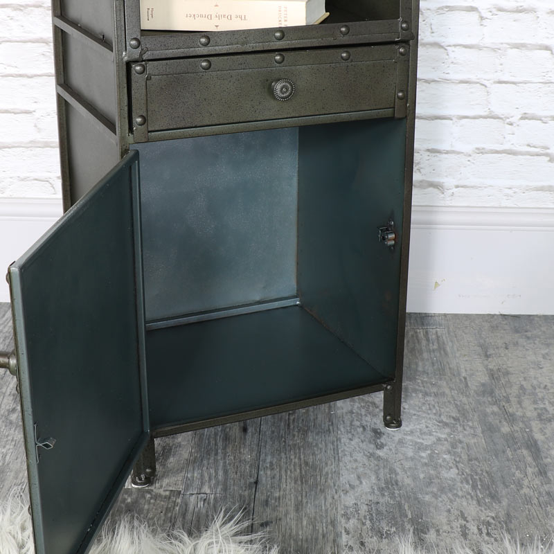 industrial style metal bedside cabinet melody maison. Black Bedroom Furniture Sets. Home Design Ideas