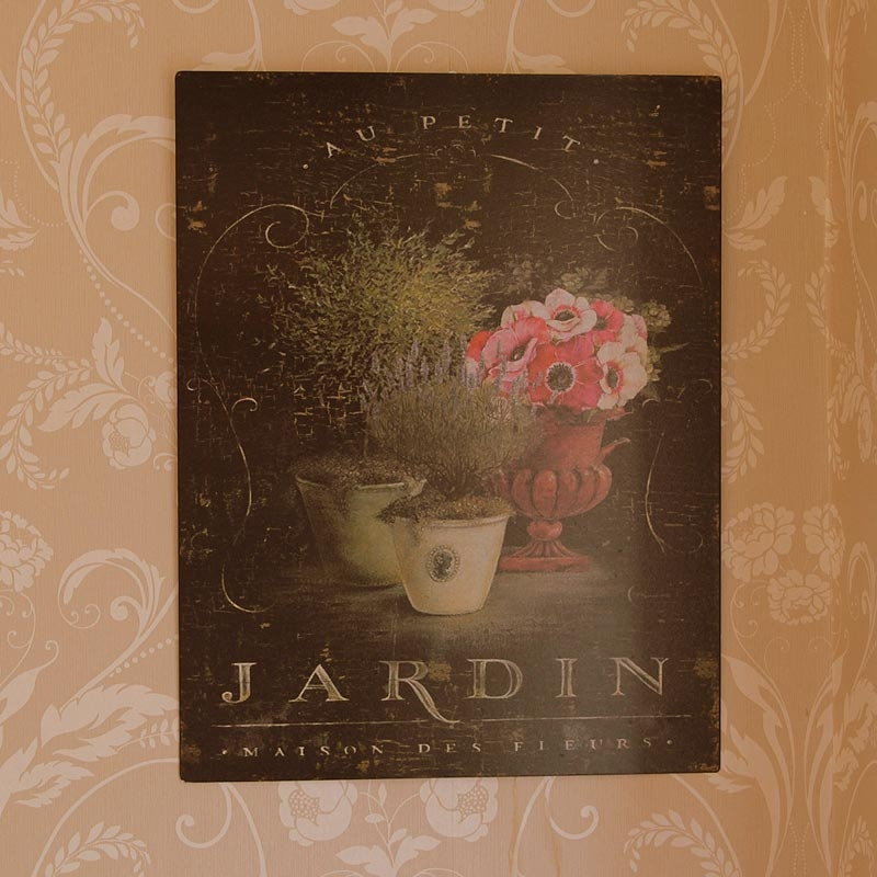Jardin flowers metal wall plaque melody maison for Plaque metal decorative pour jardin