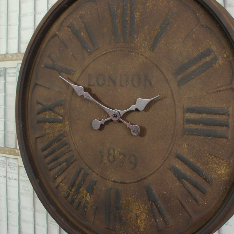 Large Antique Style Metal Wall Clock Melody Maison