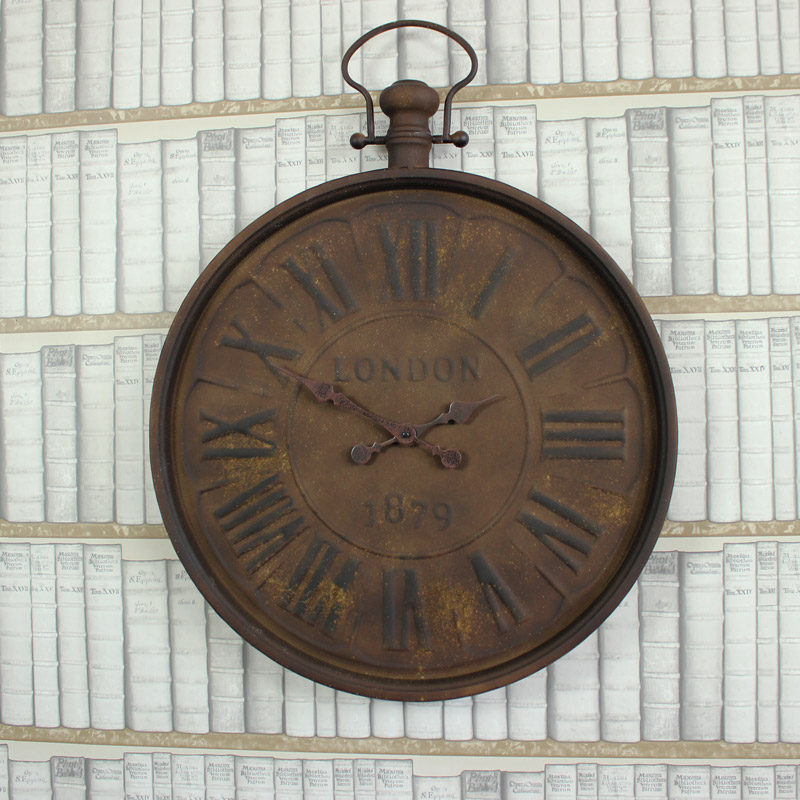 Large Antique Style Metal Wall Clock