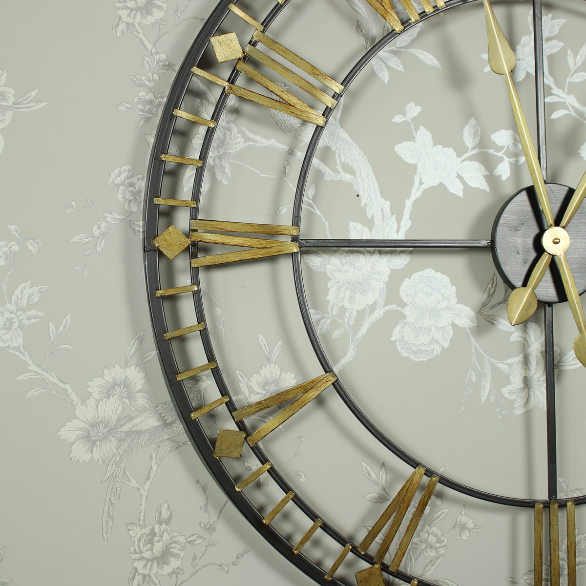 large black and gold skeleton wall clock melody maison