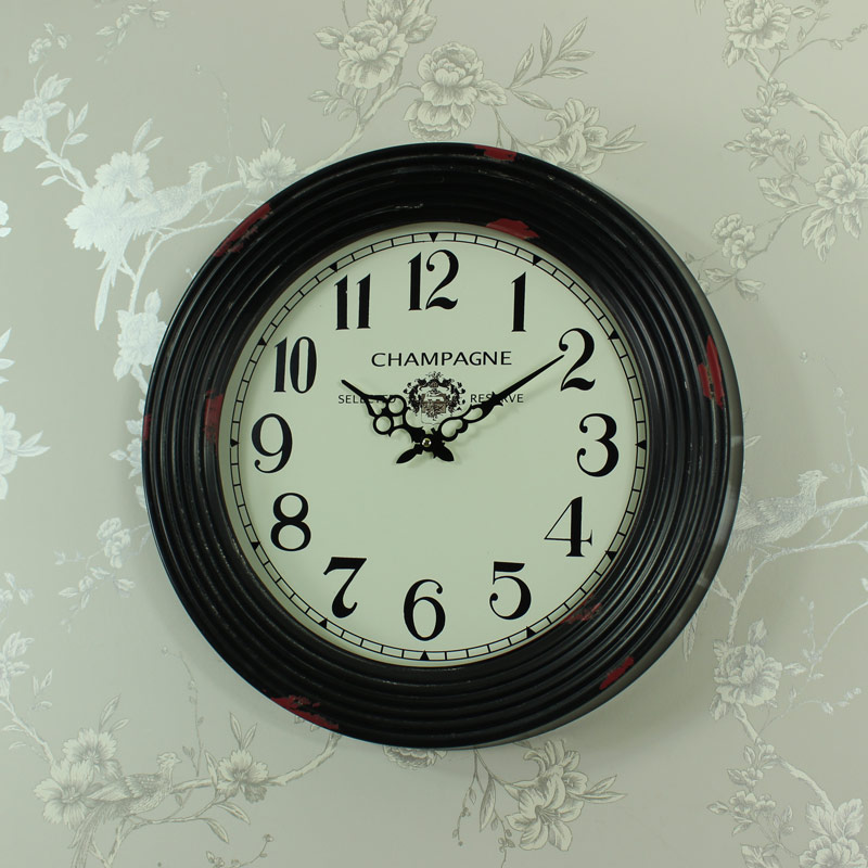 Large Black Metal Clock 60