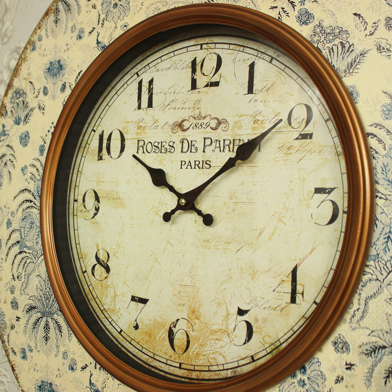 Large Cream Floral Wall Clock Melody Maison 174
