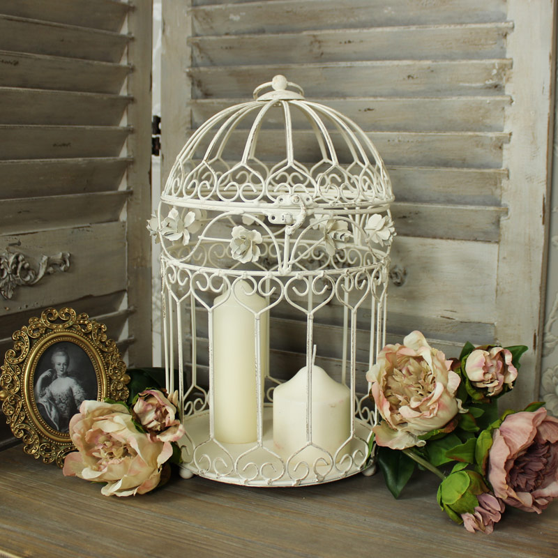 Large cream metal decorative bird cage candle holder - Petite cage oiseau deco ...