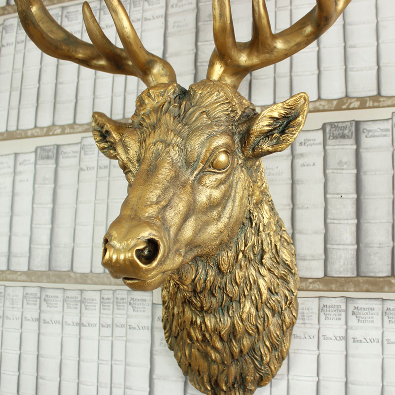 Large Gold Wall Mountable Stag Head