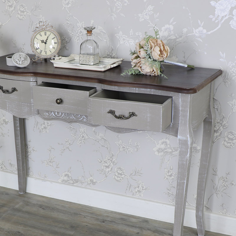 ... Large Grey 3 Drawer Console Table   French Grey Range ...