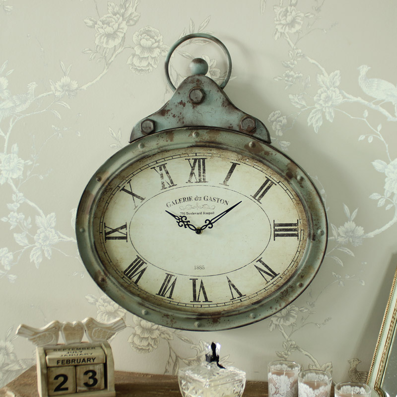 Large Grey Rustic Style Metal Wall Clock Shabby Vintage