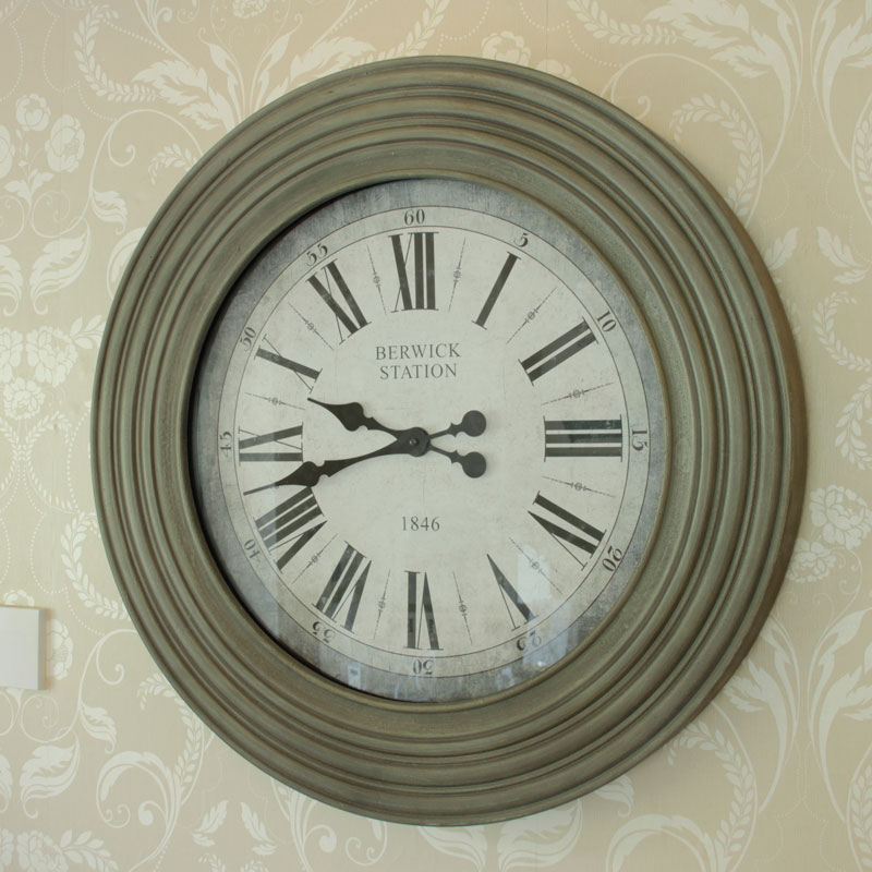 Large Grey Glass Fronted Wall Clock Melody Maison