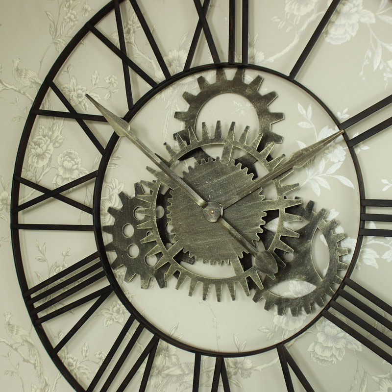 Large Metal Skeleton Cog Wall Clock Melody Maison 174