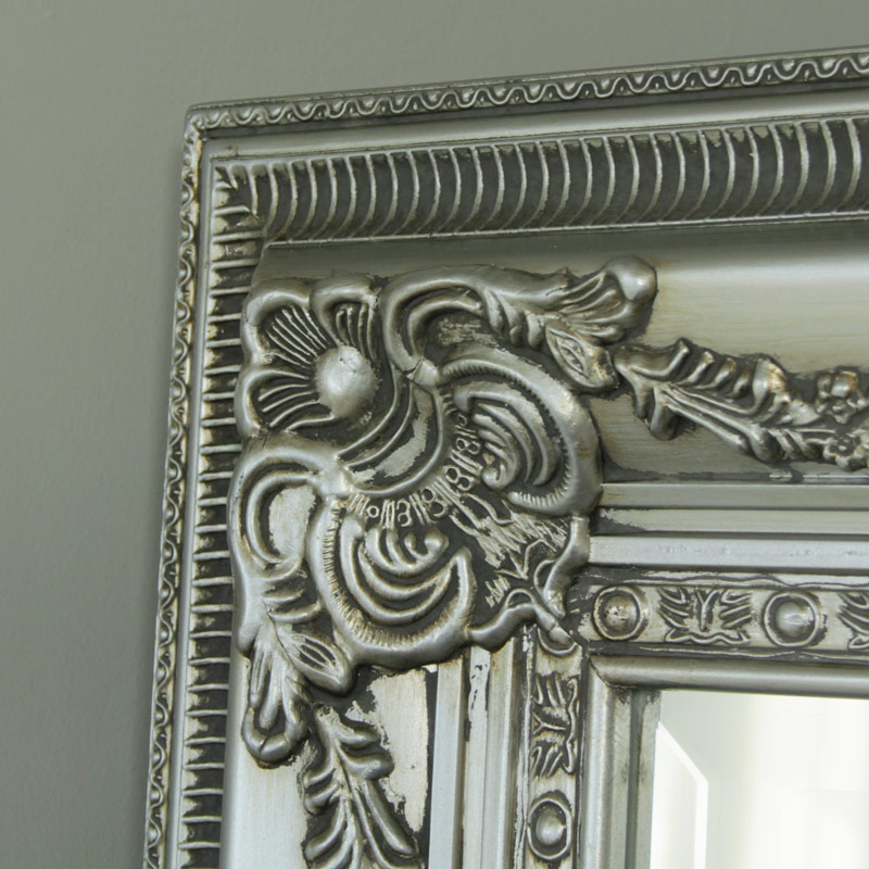 Large Ornate Silver Bevel Wall/Floor Mirror