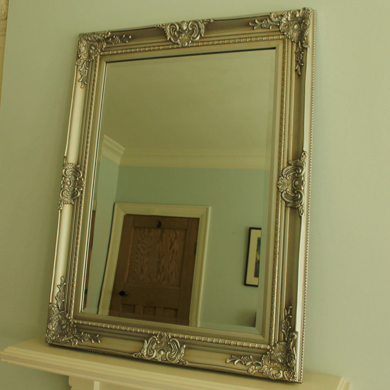 Large ornate silver wall mirror melody maison for Big silver mirror