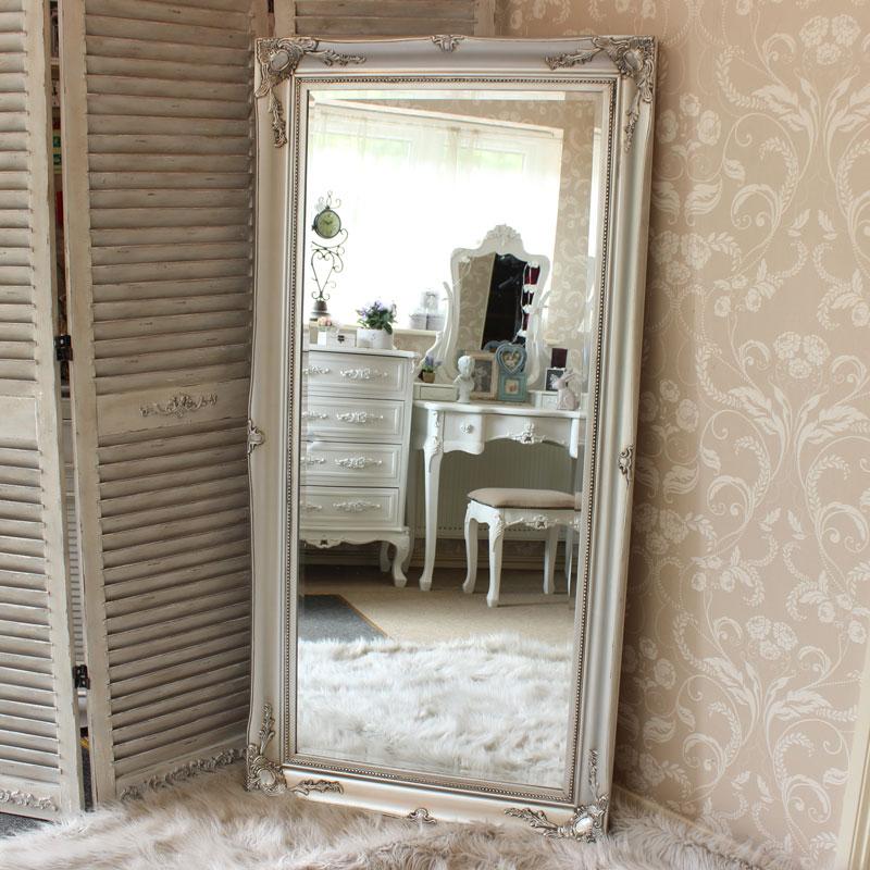 Large Ornate Silver Wall Floor Mirror 158cm x 78cm. Large Ornate Silver Wall Floor Mirror   Melody Maison