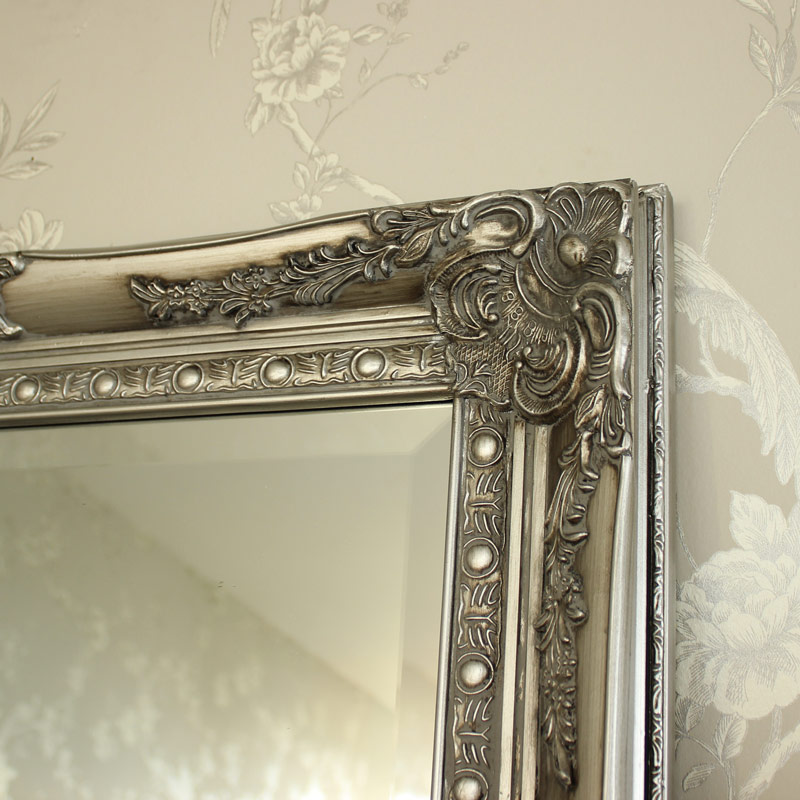Large ornate silver wall floor mirror melody maison for Big silver mirror