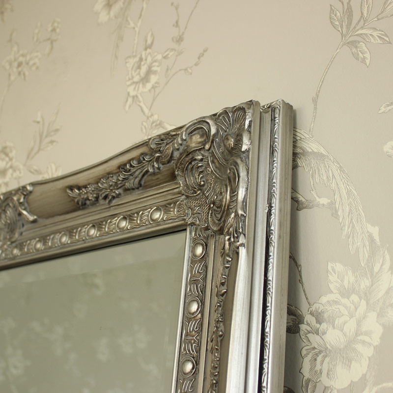 Extra large silve full length wall floor mirror shabby for Large silver wall mirror