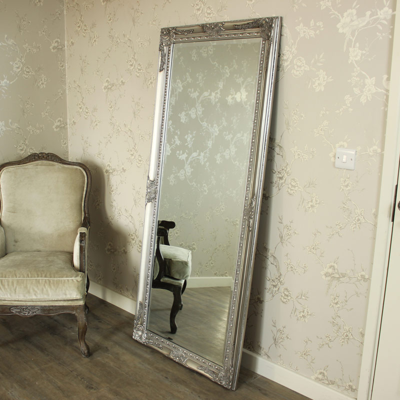 Extra large silver full length wall floor mirror shabby for Large mirror for bedroom wall