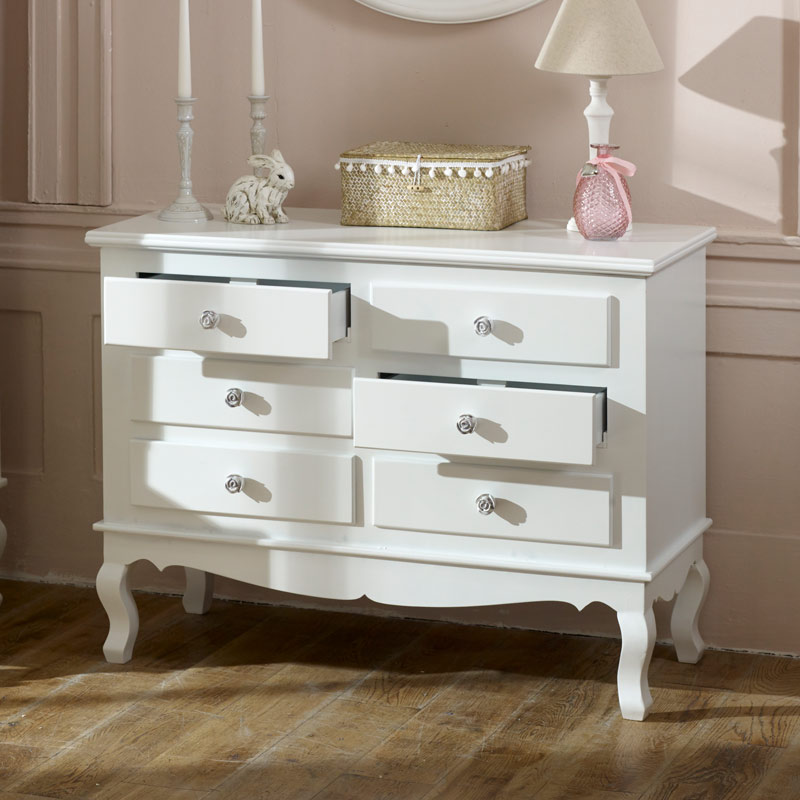 Large Ornate White 6 Drawer Chest Of Drawers