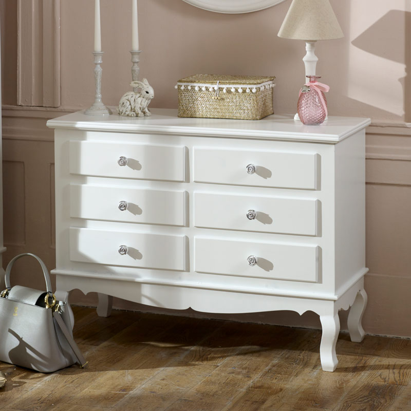 large ornate white 6 drawer chest of drawers lila range melody maison. Black Bedroom Furniture Sets. Home Design Ideas