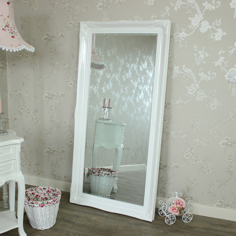 Large ornate white gloss wall floor mirror melody maison for Floor wall mirror